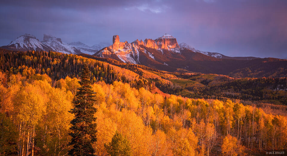Cimarrons, Colorado, San Juan Mountains, aspens, Courthouse Mountain, Chimney Rock, autumn
