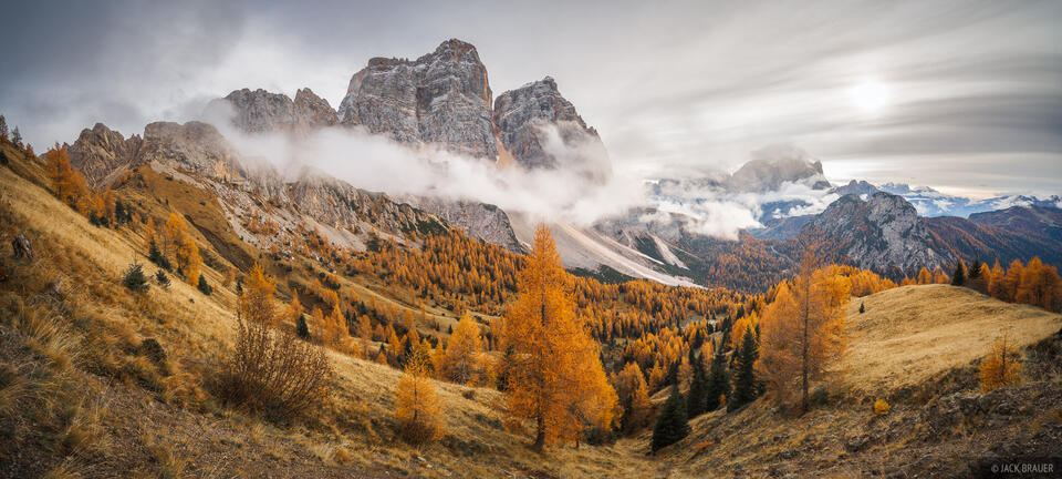Dolomites, Italy, Monte Civetta, Monte Pelmo, larch, November, Alps
