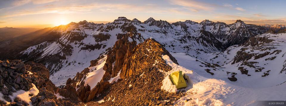 Colorado, San Juan Mountains, Sneffels Range, tent, panorama, Mount Sneffels