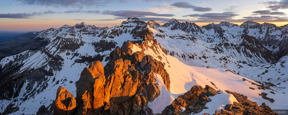 Colorado, San Juan Mountains, Sneffels Range, panorama, Mount Sneffels, sunrise