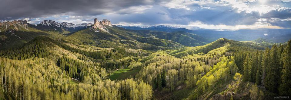 Cimarrons, aspens, Sneffels Range, panorama, spring, Courthouse Mountain, Chimney Rock, Colorado