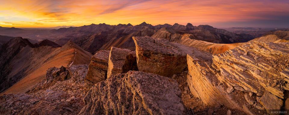 Colorado, Mt. Sneffels, San Juan Mountains, Sneffels Range, Telluride Peak, sunset, panorama