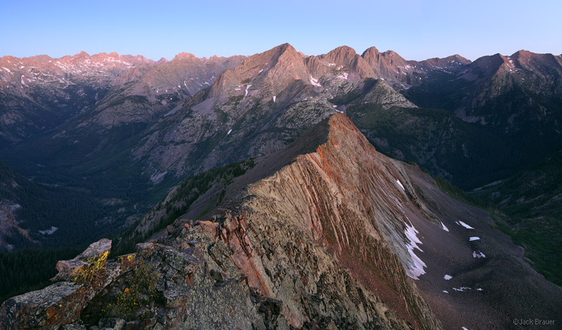 Dawn view of the Needle Mountains and Grenadier Range, as seen from a high ridge east of Vallecito Creek.