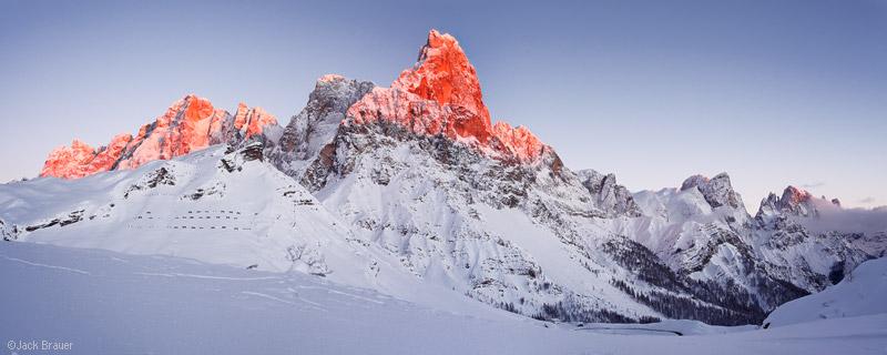 Pale di San Martino, Cimon della Pala, enrosadira, panorama, Dolomites, Italy