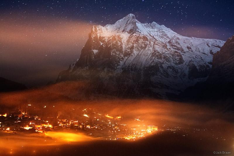 Grindelwald, Wetterhorn, moonlight, Jungfrau, Switzerland