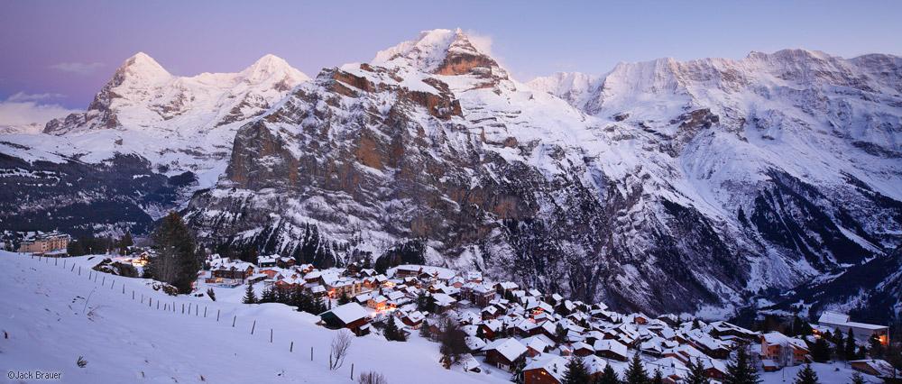 Mürren, panorama, Jungfrau, Eiger, Mönch, Switzerland