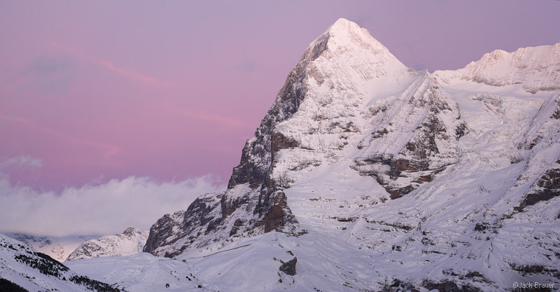 Eiger, sunset, Mürren, December, Jungfrau, Switzerland