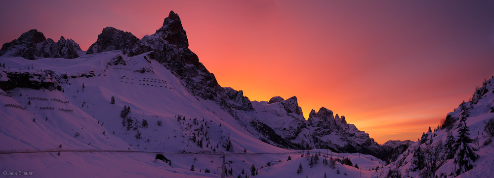 Pale di San Martino, Dolomites, Italy, sunrise, Passo Rolle