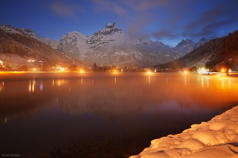 Engelberg, dawn, Switzerland, town