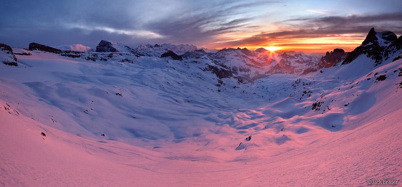Griessental, sunset, Switzerland, alpenglow, panorama