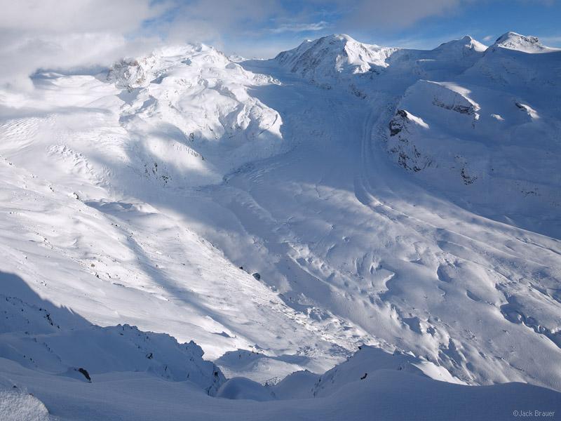 Gornergletscher, MonteRosa, glacier, Gornergrat, Zermatt, Switzerland