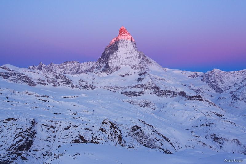 Matterhorn, alpenglow, sunrise, Zermatt, Switzerland, Gornergrat