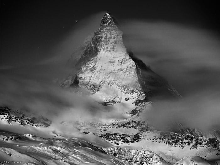 Matterhorn, winter, moonlight, Zermatt, Switzerland