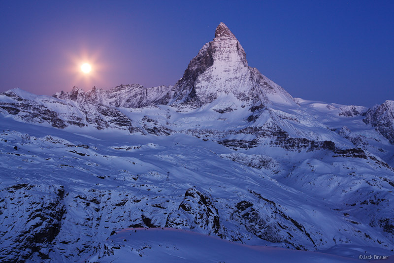 Matterhorn, moon, Zermatt, Switzerland, Cervino