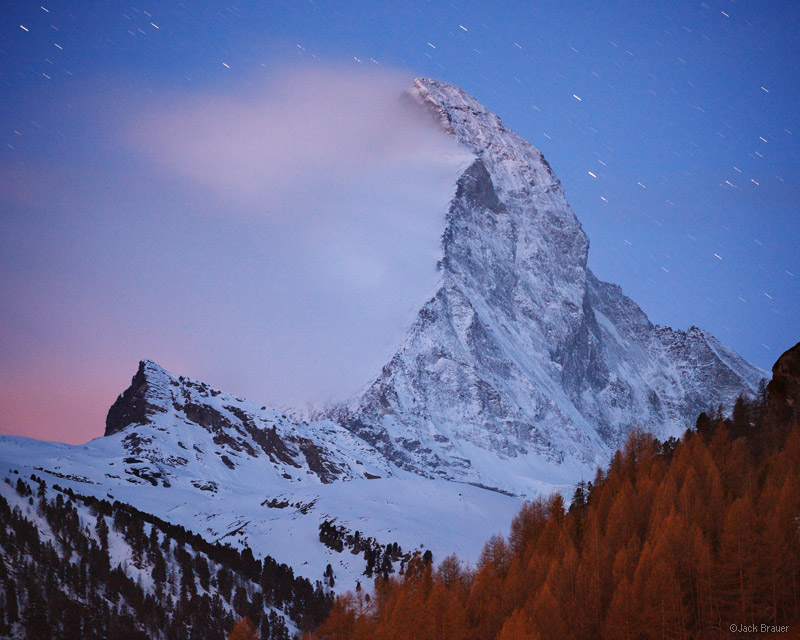 Matterhorn, stars, Zermatt, Switzerland