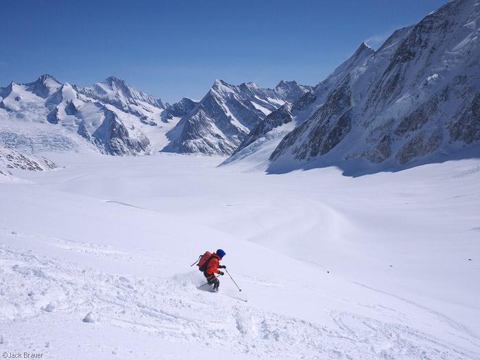 Skiing, Bernese Oberland, Switzerland, Äbeni Flue, Konkordiaplatz
