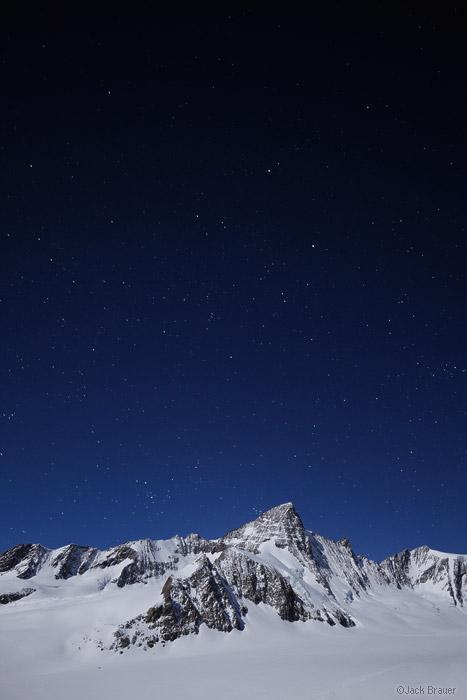 Grünhorn, moonlight, Bernese Oberland, Switzerland