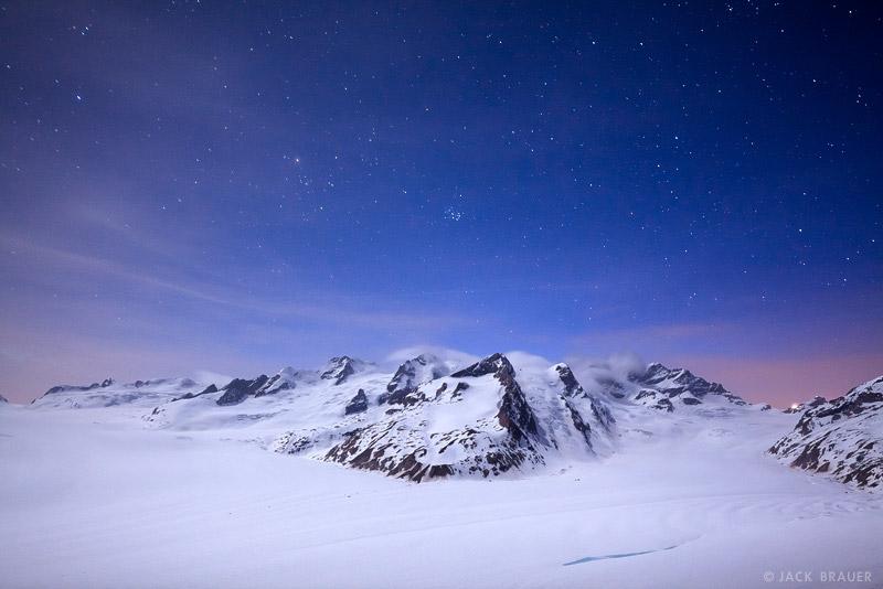 Konkordia, moonlight, Bernese Oberland, Switzerland, Aletsch Glacier