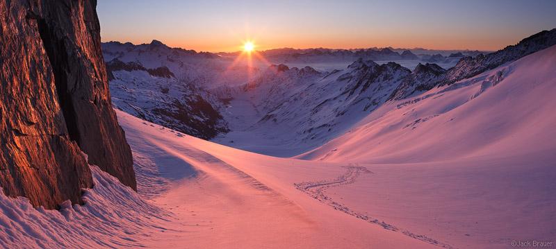 Oberaarjoch, sunrise, Bernese Oberland, Switzerland