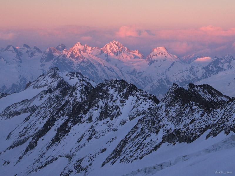 Oberaarjoch, sunset, Bernese Oberland, Switzerland