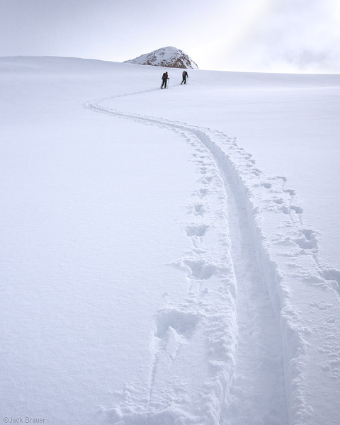 Skin track, powder, San Juan Mountains, Colorado, photo