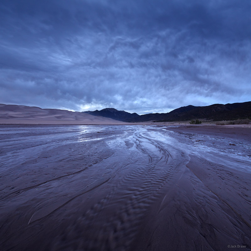 Medano Creek, Great Sand Dunes, Colorado, clouds