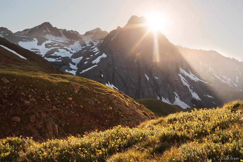 Sneffels Range, San Juan Mountains, Colorado, sunset, tundra