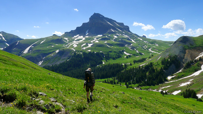 Uncompahgre Peak, San Juans, Uncompahgre Wilderness, Colorado, green tundra, hiking