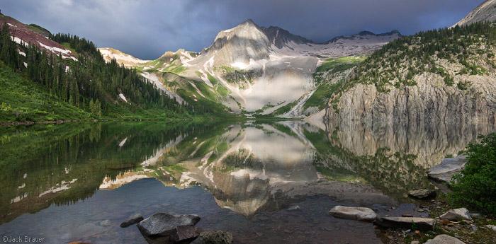 Snowmass Lake, reflection, panorama, Elk Mountains, Colorado