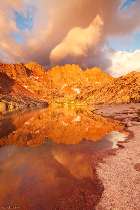 Sunlight Peak, Windom Peak, sunrise, reflection, Weminuche Wilderness, San Juan Mountains, Colorado