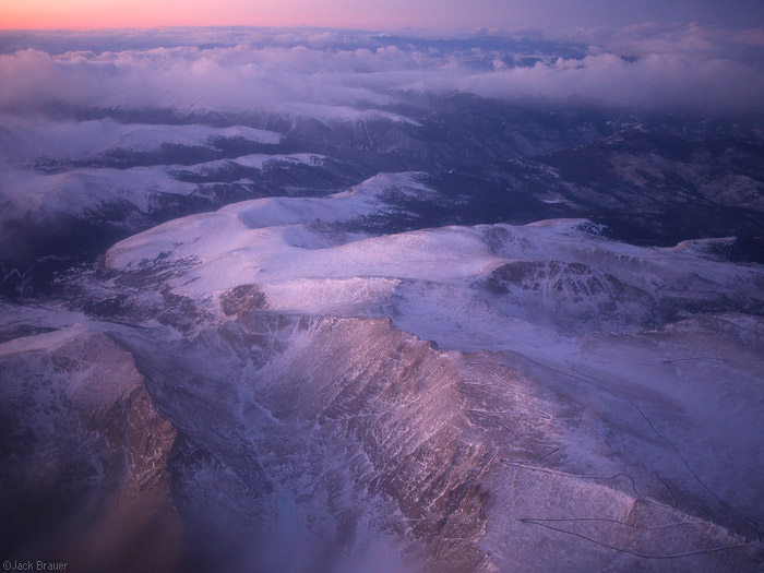 Mt. Evans, Aerial, sunset, Colorado, January, winter