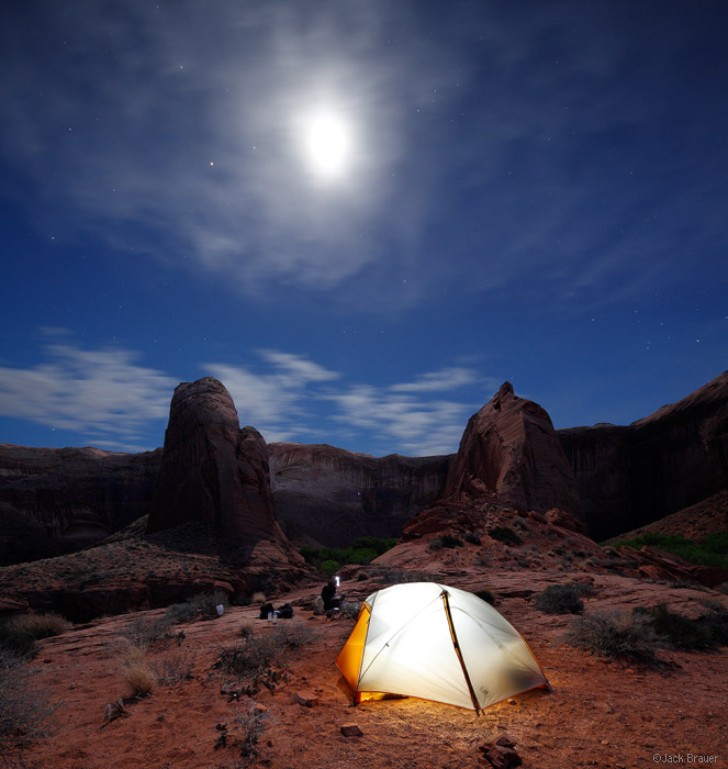 Coyote Gulch, Escalante, Utah, moonlight, camping, tent