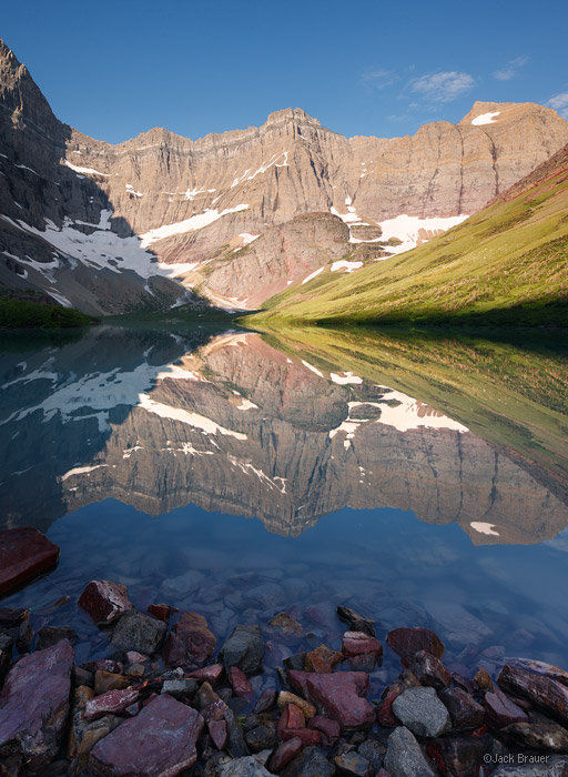Cracker Lake, Glacier National Park, Montana, reflection, july