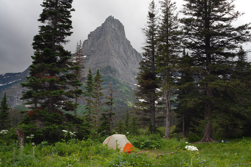 Glenns Lake, Pyramid Peak, Glacier National Park, Montana, tent, camping