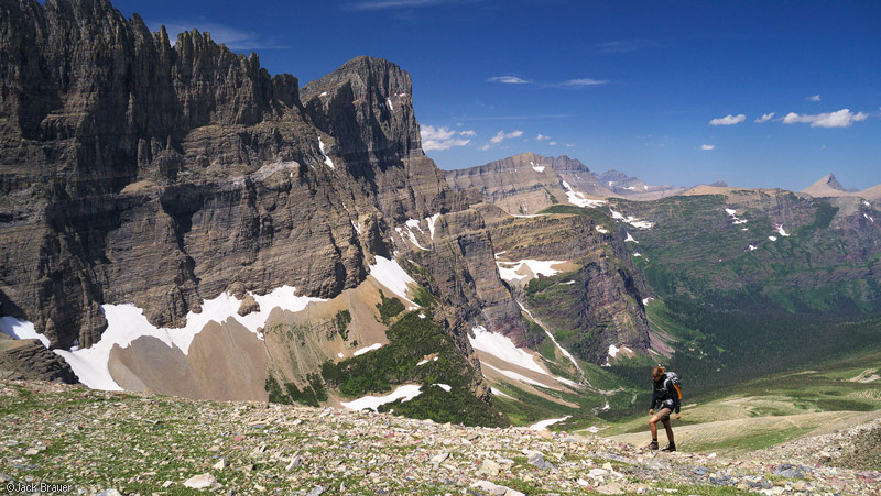 Piegan Pass, Glacier National Park, Montana, hiking, Mount Gould, Cataract Creek
