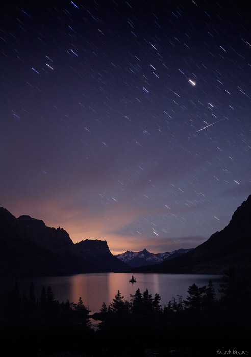 St. Mary Lake, Wild Goose Island, Glacier National Park, Montana, stars, shooting star