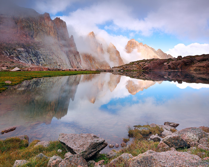 Needle Mountains, San Juan Mountains, Colorado, Weminuche Wilderness, clouds, reflection