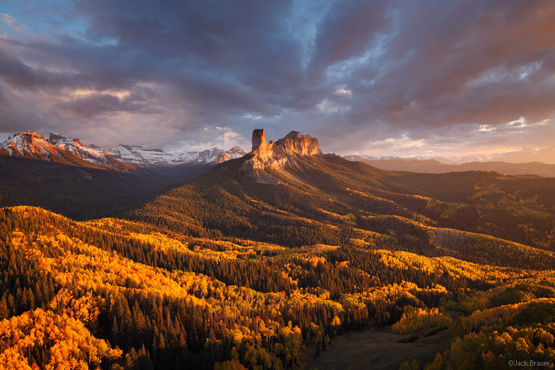 Chimney Rock, Courthouse Mountain, Cimarrons, Ridgway, San Juan Mountains, Colorado, sunset