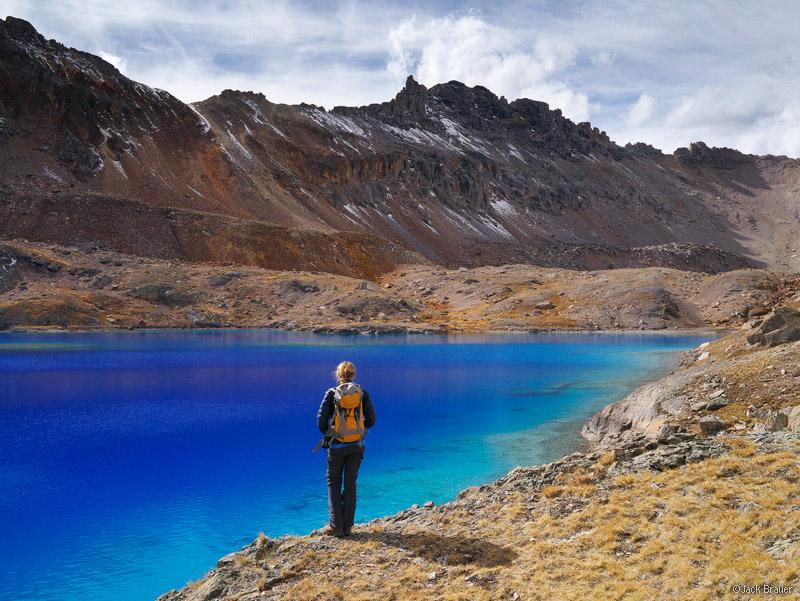 Columbine Lake, San Juan Mountains, Colorado, October, hiker