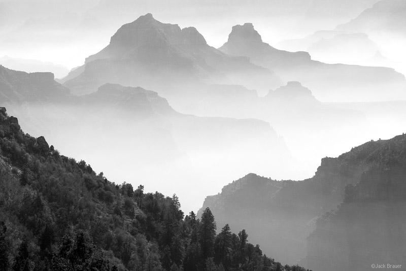 North Rim, hazy, Grand Canyon, Arizona, burn, November