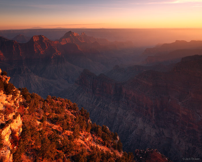Grand Canyon, Arizona, sunset, Bright Angel, North Rim