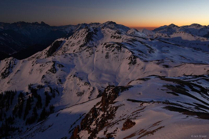 McMillan Peak, San Juan Mountains, Colorado, moonlight, november