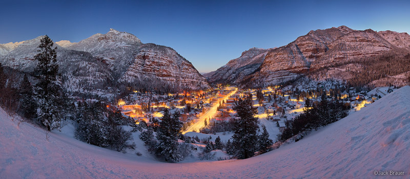 Ouray, San Juan mountains, Colorado, winter, panorama, dawn, february, lights