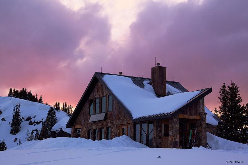 Fowler, Hilliard, hut, sunset, march, Colorado, Gore Range