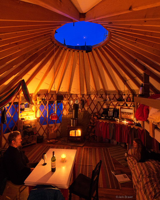 yurt, interior, Colorado, evening, winter, march