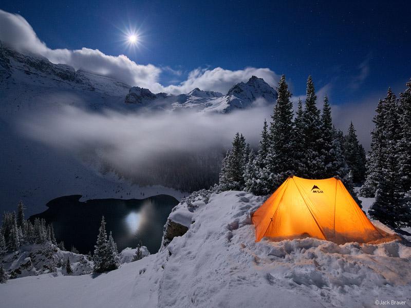 Blue Lakes, Sneffels, San Juan Mountains, Colorado, winter, camp, tent, snow, moonlight