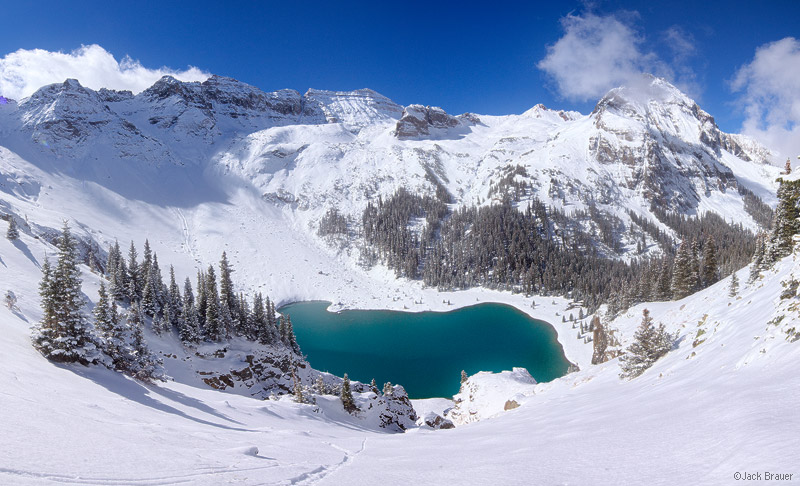 Blue Lakes, Sneffels, San Juan Mountains, Colorado, winter, panorama, snowy