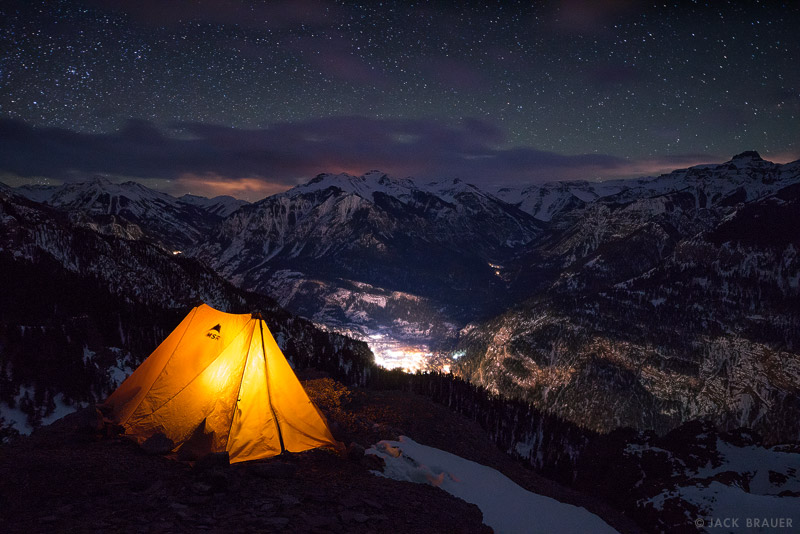 Bridge of Heaven, San Juan Mountains, Colorado, Ouray, February, night, stars, tent, camping, photo