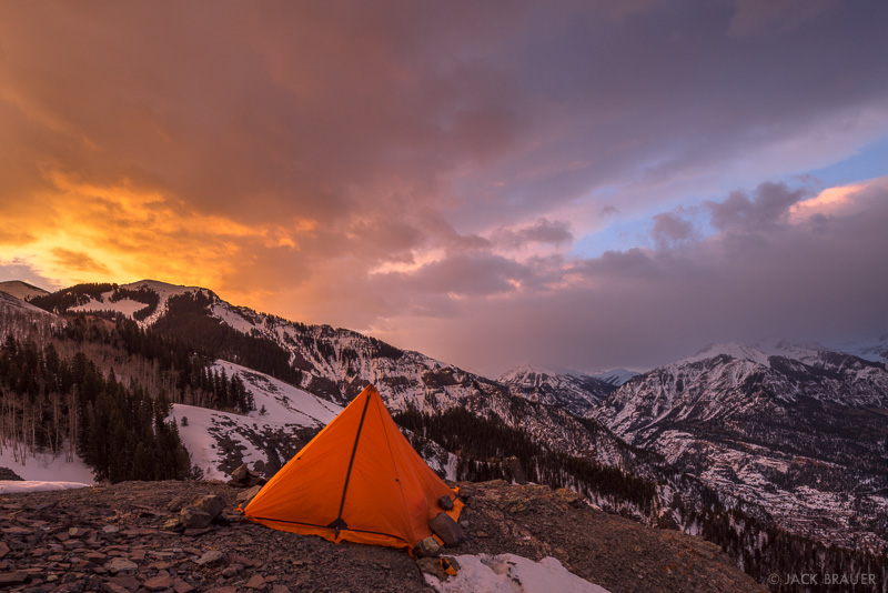 Bridge of Heaven,Colorado,San Juan Mountains,camping,tent, Ouray, February, sunrise