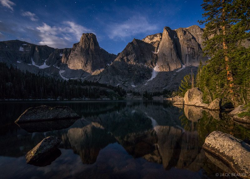 Papoose Lake,Wind River Range,Wyoming,moonlight, The Monolith, Dogtooth Mountain